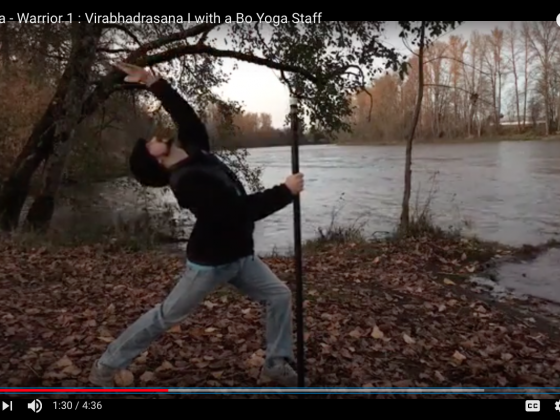 Bo Yoga - Warrior 1 : Virabhadrasana I with a Bo Yoga Staff