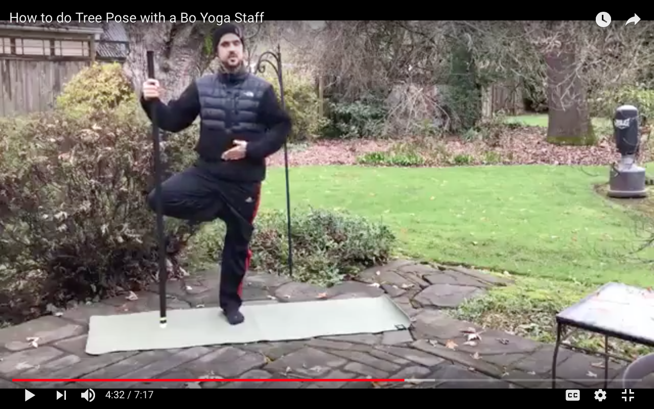 How to do Tree Pose with a Bo Yoga Staff