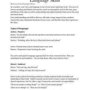 Bo Yoga Instructor Course Packet Language Skills
